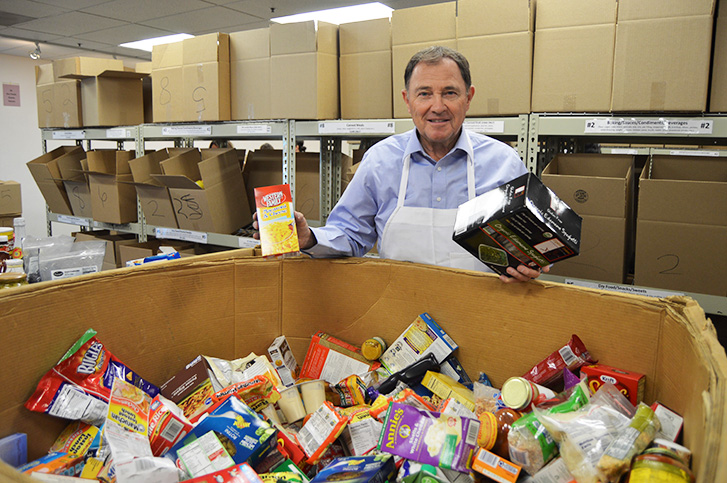 Governor Herbert Volunteering at Utah Food Bank