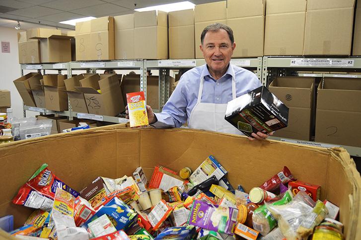 Governor Herbert Volunteering at Utah Food Bank